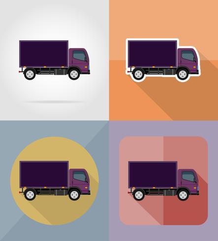 lastbil för transport last platt ikoner vektor illustration