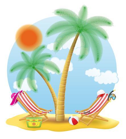 Strandstühle stehen unter einer Palme-Vektor-Illustration vektor