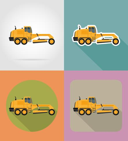 Grader für Straßenarbeiten flache Symbole Vektor-Illustration vektor