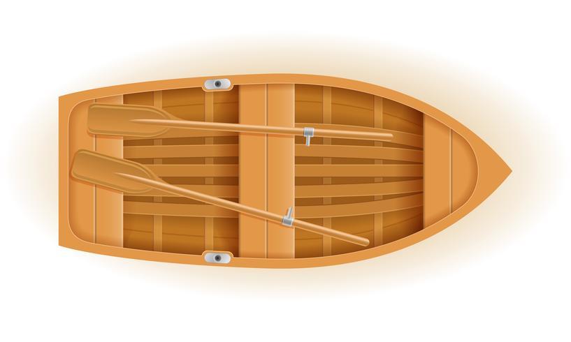 Draufsichtvektorillustration des hölzernen Bootes vektor