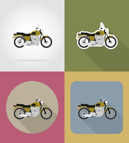 Vektor-Illustration der flachen Vektorikonen des Motorrades vektor