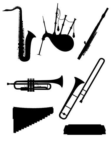 Musikinstrumente des Winds stellten schwarze Entwurfsschattenbildvorrat-Vektorillustration der Ikonen ein vektor