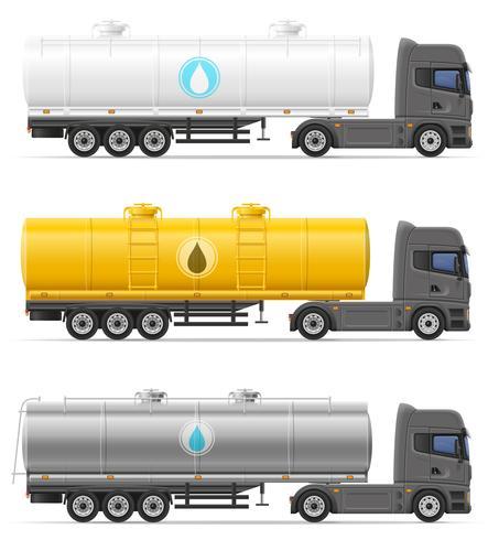 halb Anhänger des LKW mit Behälter für den Transport der Flüssigkeitsvektorillustration vektor