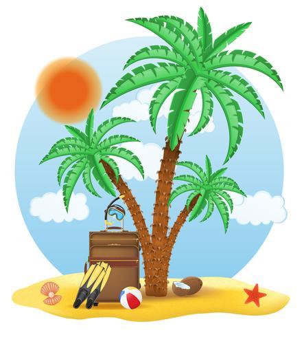 resväska stående under en palm vektor illustration