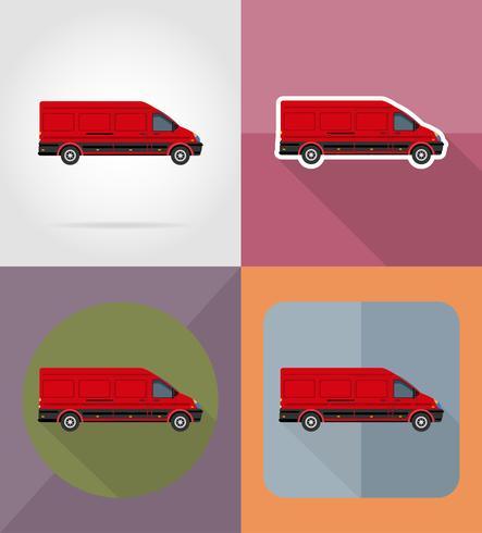 Ikonen-Vektorillustration des Minibusses flache vektor