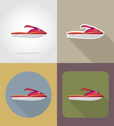 aquabike platt ikoner vektor illustration