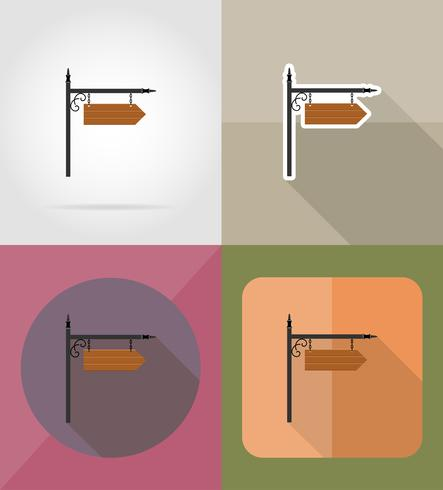 Ikonen-Vektorillustration des hölzernen Brettes flache vektor