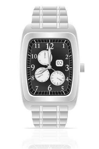 silberne mechanische Armbanduhr mit Armbandvektorillustration vektor