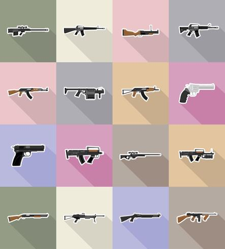 Ikonen-Vektorillustration der modernen Waffenfeuerwaffen flache vektor