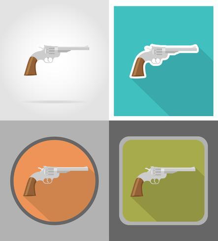 Revolver-Wildwest-flache Ikonen-Vektorillustration vektor