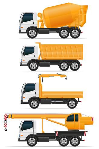 stellen Sie die Ikonen-LKWs ein, die für Bauvektorillustration entworfen werden vektor