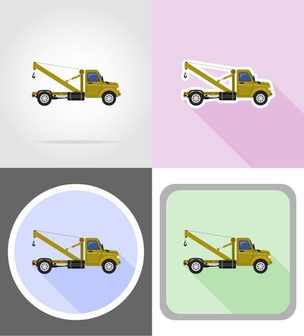 LKW mit Kran zum Anheben der flachen Ikonen der Waren vector Illustration