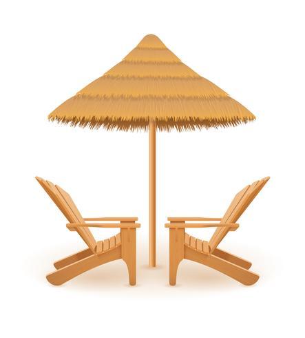 Strand Sessel Liegestuhl Liegestuhl aus Holz und Regenschirm aus Stroh und Schilf-Vektor-Illustration vektor