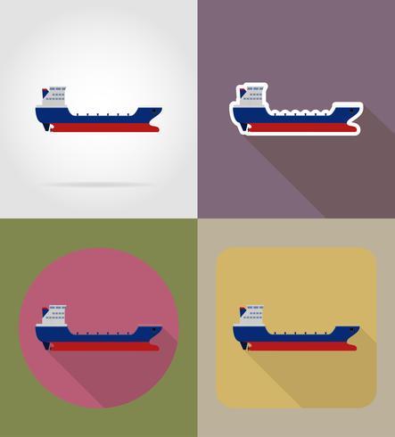 Ikonen-Vektorillustration des Frachtschiffs flache vektor