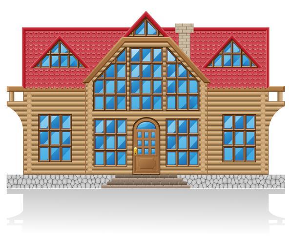 Holzhaus-Vektor-Illustration vektor