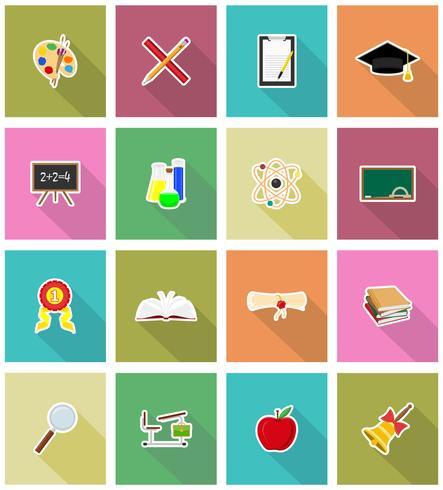 Ikonen der Vektorillustration der Schulbildung flache vektor