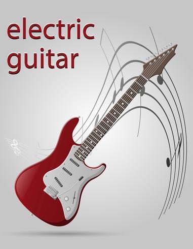 Vektorillustration der Musikinstrumente der E-Gitarre auf Lager vektor