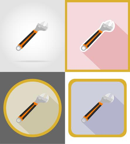 Die flachen Ikonen der Schlüsselreparatur- und -bauwerkzeugwerkzeuge vector Illustration