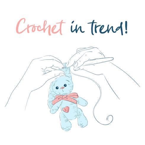 Hände mit einem Häkelnadel Bunny. Handgefertigt Vektor-illustration vektor