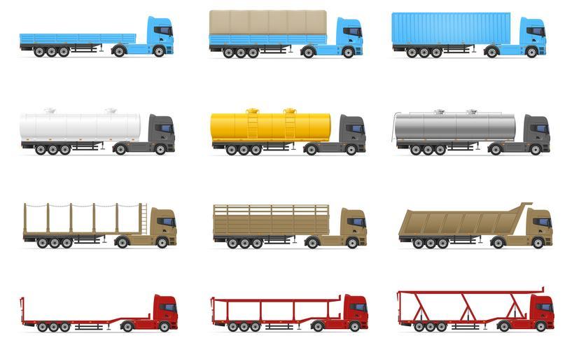 gesetzte Ikonen LKW-Anhänger-Vektorillustration halb vektor