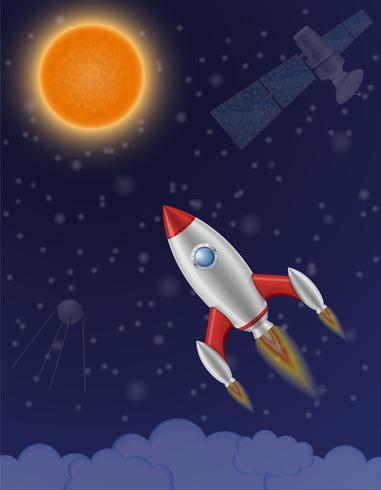 Retro Raumschiff-Vektorillustration der Weltraumrakete vektor