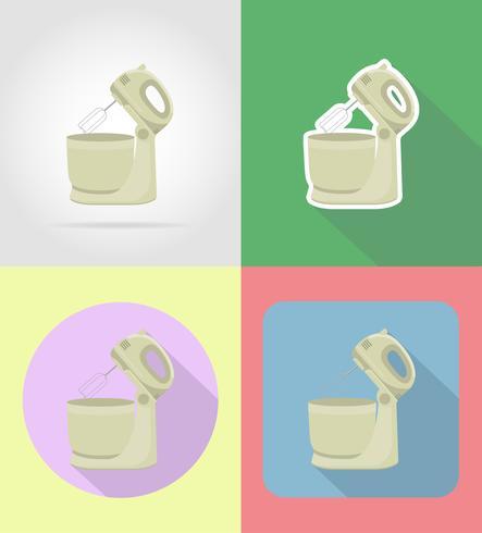 mixer hushållsapparater för kök platt ikoner vektor illustration