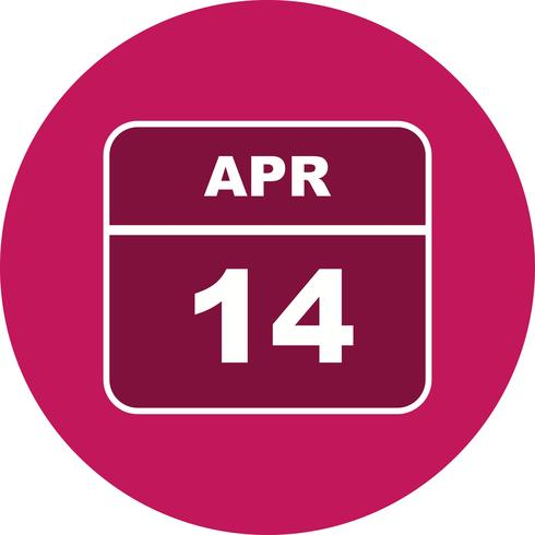 14. April Datum an einem Tageskalender vektor