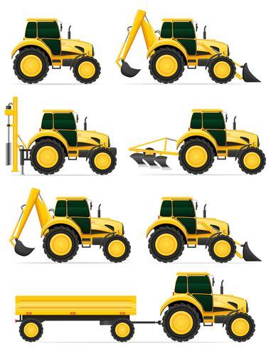 stellen Sie gelbe Traktor-Vektorillustration der Ikonen ein vektor