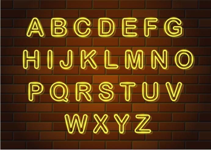 glühende Neonbuchstaben englisches Alphabet-Vektorillustration vektor