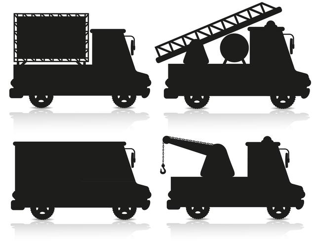 Schwarze Schattenbild-Vektorillustration der Autoikone gesetzte vektor