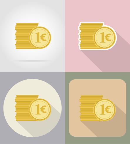 mynt euro platta ikoner vektor illustration