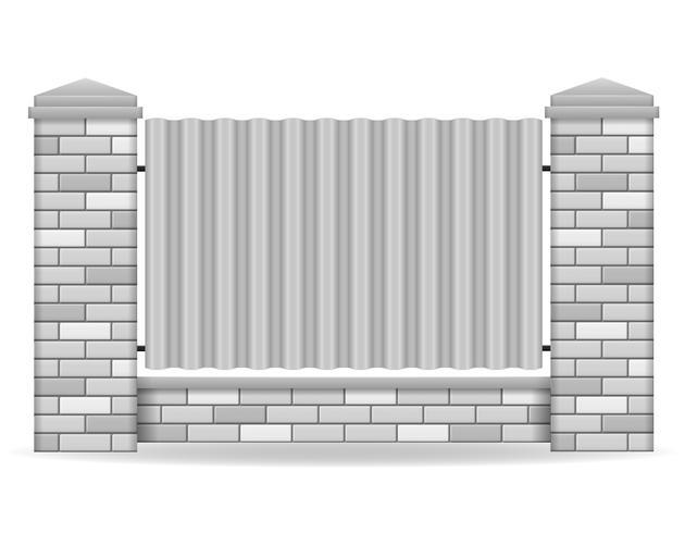 Ziegel-Zaun-Vektor-Illustration vektor