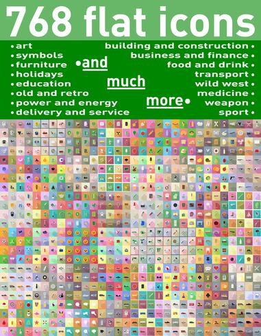 768 verschiedener Satz flache Ikonen und Symbole vector Illustration
