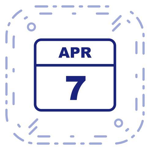 7. April Datum für einen Tagkalender vektor
