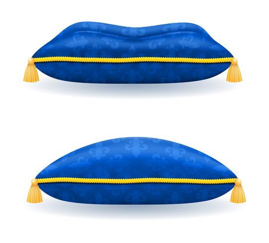 blaues Satinkissen mit Goldseil und Quasten vector Illustration