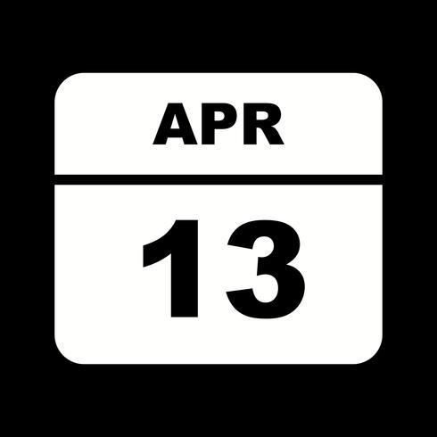 13 april Datum på en dagskalender vektor