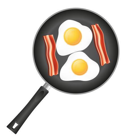 stekt ägg med bacon i en stekpanna vektor illustration