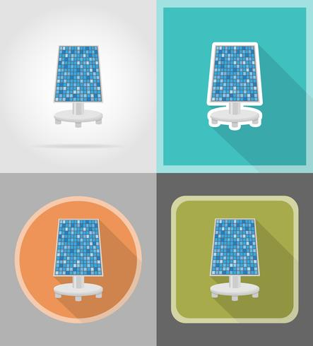 Ikonen-Vektorillustration der Solarbatterie flache vektor