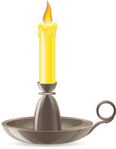 Eine brennende Kerze steckt in einem Leuchter vektor