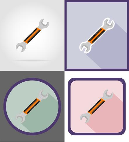 skiftnyckel reparation och byggverktyg platt ikoner vektor illustration