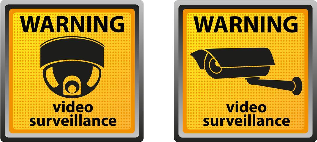 Schild Warnung vor Überwachungskamera vektor