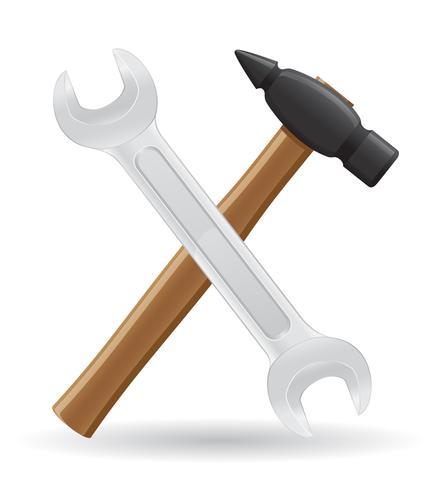 Werkzeuge Hammer- und Schlüsselikonen-Vektorillustration vektor