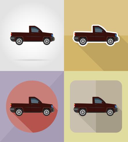 pick-up transport platt ikoner vektor illustration