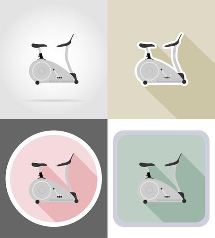 Ikonen-Vektorillustration des Übungsfahrrades flache vektor