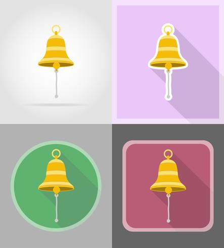 Ship Bell flat ikoner vektor illustration