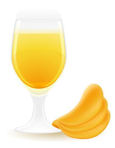 Kartoffelchips mit Bier-Vektor-Illustration vektor