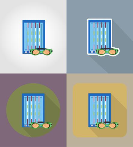 Ikonen-Vektorillustration des Swimmingpools flache vektor