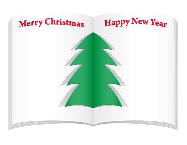 Leeres Notizbuch mit Weihnachts- und Baum-Vektorillustration des neuen Jahres vektor
