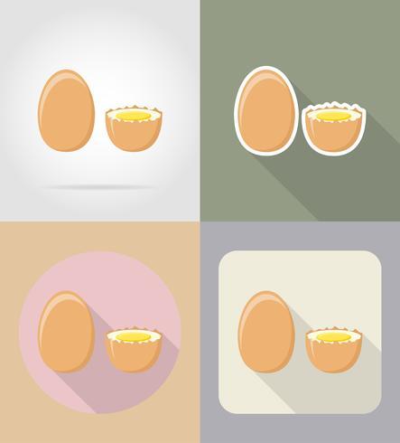ägg mat och objekt platt ikoner vektor illustration