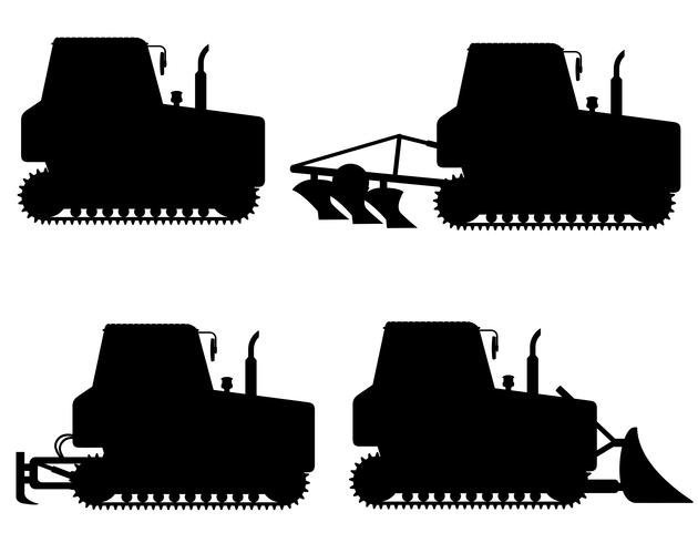 set ikoner caterpillar traktorer svart silhuett vektor illustration